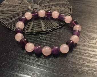 Rose Quartz & Amethyst 8mm Beads Bracelet for Yoga, Meditation , Reiki , Feng Shui , Healing