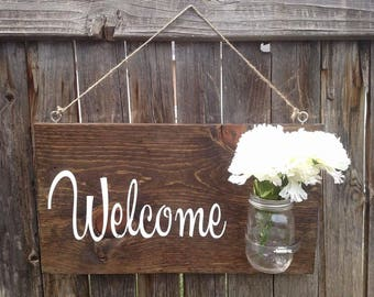 Welcome Mason Jar Vase Wood Sign
