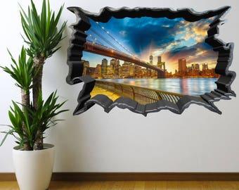 NEW YORK BRIDGE wall art sticker decal transfer Vinyl Graphic Mural Art Stickers WSD545