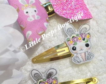 "3.5"" Easter Hair Bow Set Pink or Yellow, Hair clip, Easter Bunny,Snap Clips, Hair Accessories Set, Hair Slide, Hair Grip"