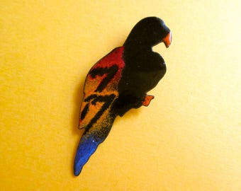 Vintage Parrot Pin - Enamel and Copper