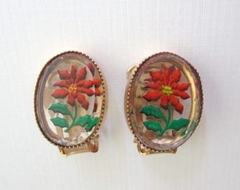 Vintage Poinsettia Reverse Painted Glass Earrings - Christmas - Clip On