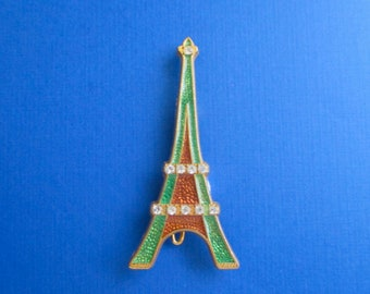 Eiffel Tower Pin Brooch - Made in Paris France - Signed Sap Polyne - Designer