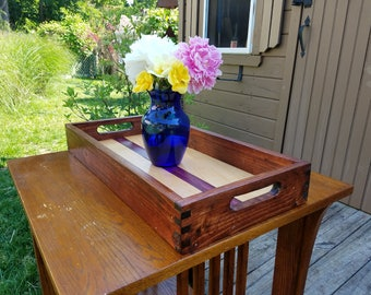 Deluxe Handmade Serving Tray with Maple Inlay