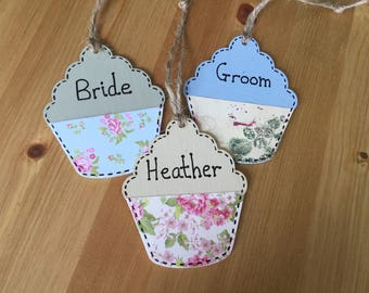 Hand painted wooden cupcake place names