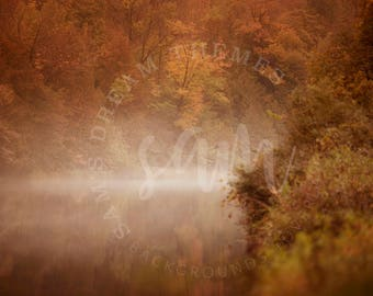 Autumn Water Digital backdrop, digital background, Water background, Forest background, Forest backdrop, Autumn backdrop background