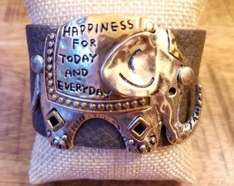 Leather Cuff Bracelet - Hand Stamped - Inspirational - Elephant - Happiness