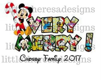 Mickey Very Merry Family Christmas Transfer,Digital Transfers,Digital Iron Ons,Diy