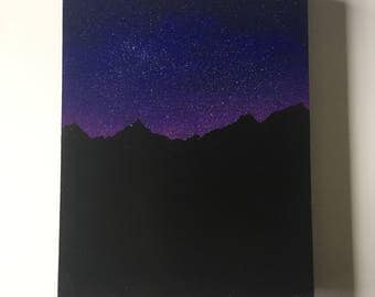 Night sky 9x11 acrylic and oil painting on wood panel