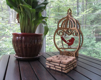 Cardinal in a Cage Wood Decor