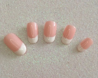 READY TO SHIP * Pink & White French Tip Press On Nails * Fale Nails * False Nails