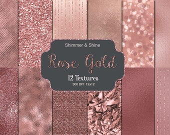 ROSE GOLD DIGITAL Paper Rose Gold Foil Glitter