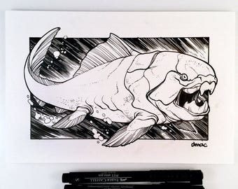 Dunkleosteus Original Pen and Ink Illustration