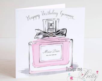 Luxury Perfume Birthday Card - Personalised with ladies name
