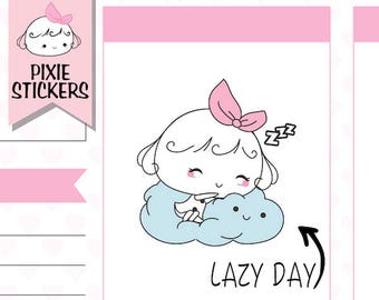 P027|  sleep stickers, sleeping stickers, planner stickers, day off stickers, lazy day stickers, chilling stickers, catch up, functional