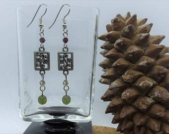 Purple & Green Floral Earrings (Pierced or Clip-On)