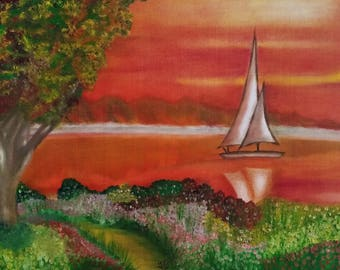 Serene Sailboat - Oil Painting