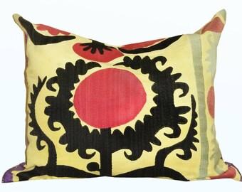 marvelous uzbek silk handmade embroidered suzani pillow case cushion 1118