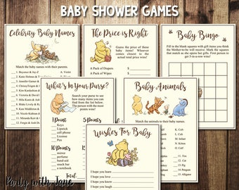 Winnie the Pooh Baby Shower Games, Activities, Wishes for Baby, Animals, Bingo, Price Is Right, Celebrities, Whats In Your Purse, Printable
