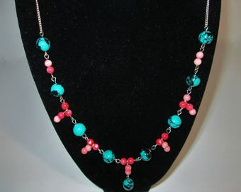 Coral and Reconstituted Turquoise Necklace