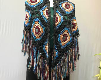 Beautiful 70's style crochet shawl.