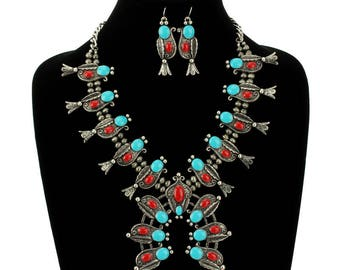 Turquoise Western Squash Blossom Necklace Set-AN1295SBTQRD006