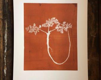 Wild Fern print, botanical print, monoprint, fern botanicals, fern art, art for her, gift for her, birthday gift, wedding art, wedding gift