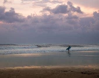 Sunset Surf Photo Bali, Large Wall Decor, Landscape Photography, Contemporary Art, Photos on Canvas, Sunset Beach Photography