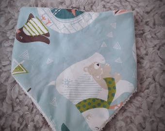 Bandana bib baby boy - gift idea birth - polar bear ice - sponge and cotton