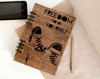 Freedom notebook Wooden notebook Wood journal Travel journal Engraved notebook Custom journal Sketchbook Laser engraved journal