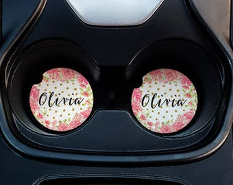 Peony and Scattered Dots Personalized Car Coasters - Floral Pink Frame Polka Dot Print with Personalized Name Sandstone Car Coasters