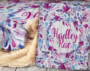 Personalized Blanket - Sherpa Throw Blanket -  Feather Blanket - Floral Blanket - Personalized Name Blanket - Baby Blanket - Sherpa