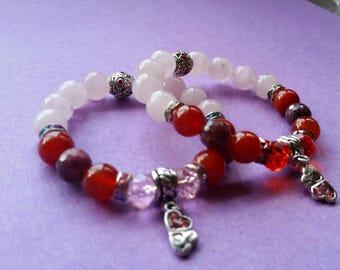 Red canelian / rose pink quartz/ ruby  mother daughter charm stretch bracelet set