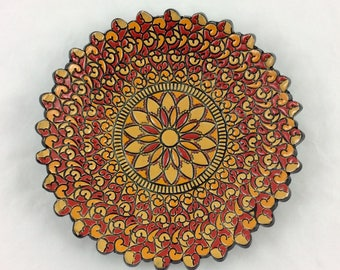 Red mandala dish