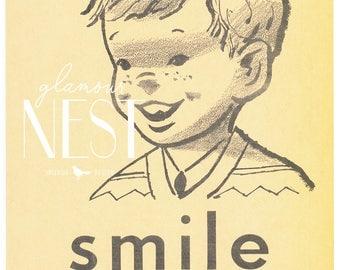"Vintage Flash Card ""S is for Smile"" Instant Download"
