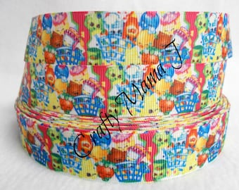 "SALE Shopkins Characters on 7/8"" Grosgrain Ribbon by the yard. Choose 3/5/10 yards."