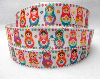 "Russian Nesting Dolls on 7/8"" Grosgrain Ribbon  by the yard. Choose 3/5/10 yards. Wooden Matryoshka doll or ""babushka dolls""."