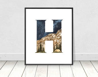 Alphabet Typography Watercolor Art Print For Boy's Nursery Room Decor- Letter H Whimsy Wilderness Camping in a Tent Printable Artwork