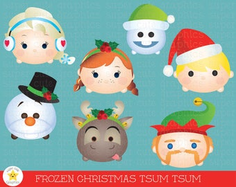 Frozen Tsum tsum clipart, tsum tsum christms graphics, elsa tsum tsum, tsum tsum christmas clipart, party, christmas, printable, frozen