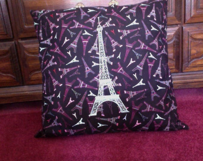 Large 20 inch Black Pink and Baby Blue Embroidered Eiffel Tower Throw Pillow For Girl's Room Decor Housewarming or Christmas Gift