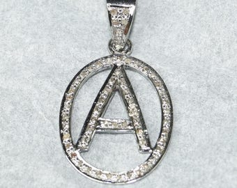 """Antique Finish 1"""" inches Large Oval With Initial Letter """"A"""", or any other letter; Pave Diamond Sterling silver Charm Necklace - RSU010"""