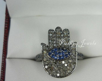 Bohemian fashion 2.30ctw pave diamonds blue sapphire humsa 925 sterling silver midi finger ring stack ring good luck gift