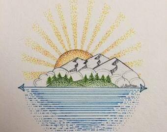 Hand Drawn Graphic Island Scene