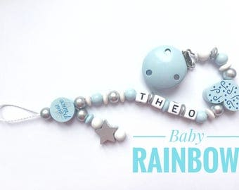 Hanging pacifier with star - PRINCE blue silver white name