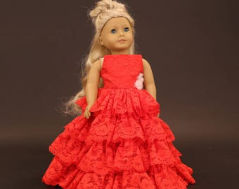 "Red Ruffle Dress Fits 18"" Doll"