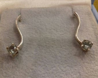 Stirling silver hallmarked ear-rings with light blue crystal solitaire-effect stones