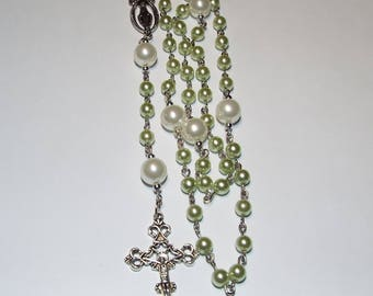Handmade Catholic Rosary Prayer Beads Pearl Silver Choice of Color Green Mint Violet Aqua Teal Pink