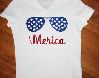 Merica kids shirt, 'Merica, 'Merica sunglasses shirt, Kids 4th of July shirt