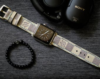 Artisan Watch Strap Handmade White LV Strap L1 Fits Apple watch Series 1 Series 2, Nike+ version 38mm or 42mm