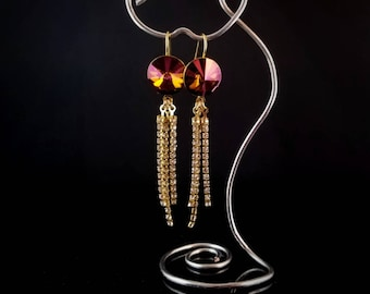 Mahogany and gold Swarovski earrings with crystal dangles